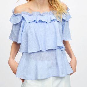 < Zara > Ruffled top shirt